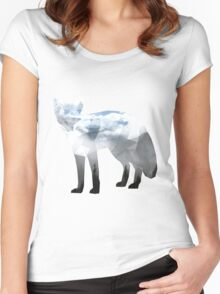 Low Poly Fox, Misty Forest Women's Fitted Scoop T-Shirt