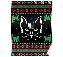 Cat Face Ugly Christmas Sweater Poster