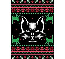 Cat Face Ugly Christmas Sweater Photographic Print