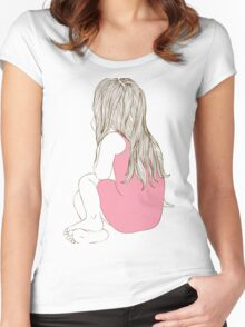 Little girl in a pink dress sitting back hair Women's Fitted Scoop T-Shirt