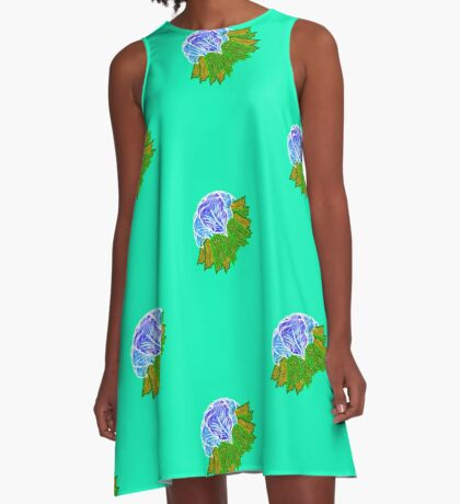 Blue Flowers & Green Leaves A-Line Dress
