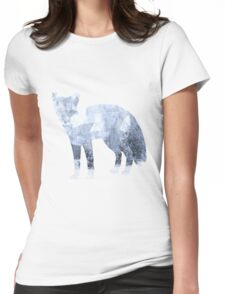 Low Poly Fox, Snowy Forest Womens Fitted T-Shirt