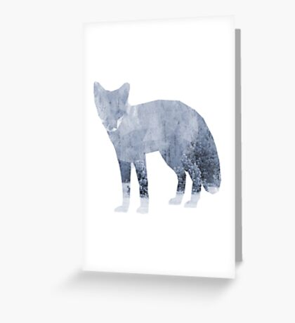 Low Poly Fox, Snowy Forest Greeting Card
