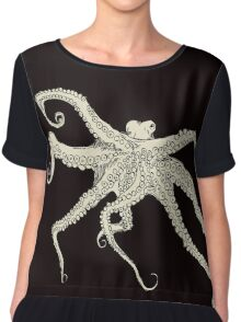 Vector illustration of hand drawn with octopus Chiffon Top