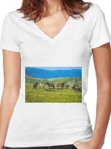 Herd Of Horses high In The Mountains Women's Fitted V-Neck T-Shirt