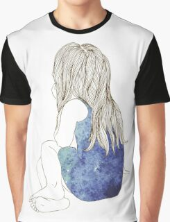 Little girl in a dress sitting back hair Graphic T-Shirt