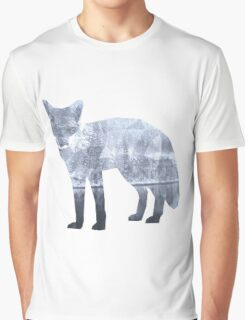 Low Poly Fox, Snowy Lake Graphic T-Shirt
