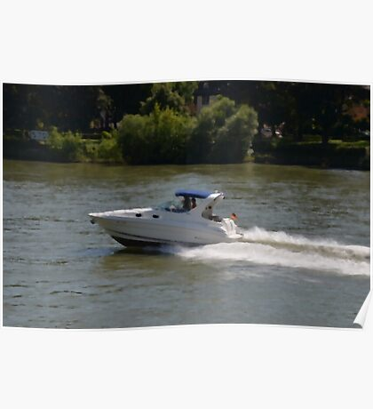Powerful Motor Boat Poster