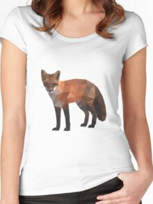 Low Poly Fox, Natural Colors Women's Fitted Scoop T-Shirt