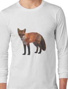 Low Poly Fox, Natural Colors Long Sleeve T-Shirt