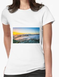 Beautiful sunrise over the Mountain Womens Fitted T-Shirt