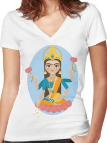 illustration of Hindu deity mother Lakshmi Women's Fitted V-Neck T-Shirt