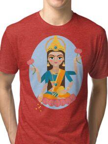 illustration of Hindu deity mother Lakshmi Tri-blend T-Shirt