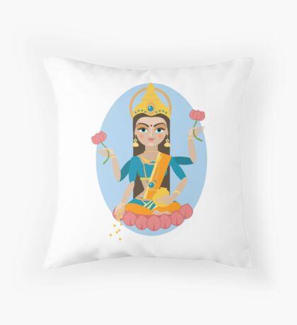 illustration of Hindu deity mother Lakshmi Throw Pillow