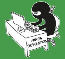 ninja developer programming language black ed Kids Tee