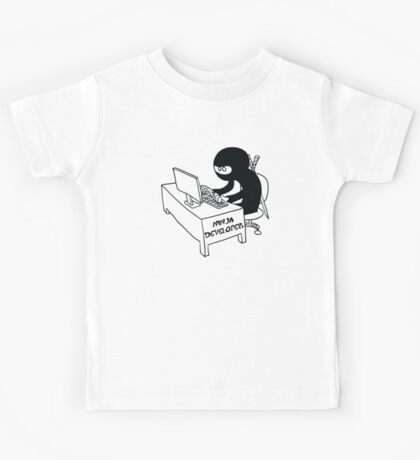 ninja developer programming language black ed Kids Tee