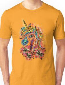 Unicorn, fantasy, magic, magical, rainbow, color, horse, lily, flowers, pony Unisex T-Shirt