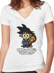 Baby Milo X DBZ Women's Fitted V-Neck T-Shirt