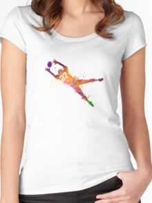 american football player man catching receiving Women's Fitted Scoop T-Shirt