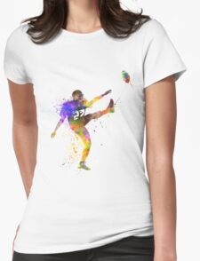 american football player man kicker kicking Womens Fitted T-Shirt
