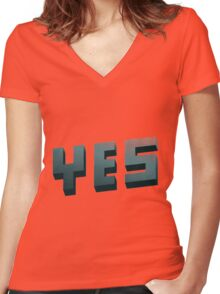 YES Women's Fitted V-Neck T-Shirt