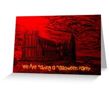 A Dracula Halloween Abbey invitation to a party Greeting Card