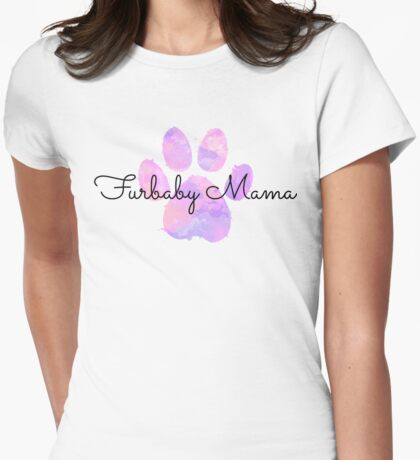 Furbaby Mama Pink Paw Womens Fitted T-Shirt