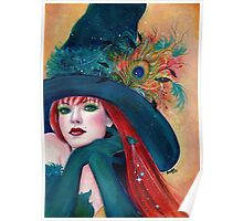 Pia Dora Halloween witch art by Renee Lavoie Poster