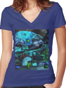 Dolphin's Under The Sea  2 Women's Fitted V-Neck T-Shirt