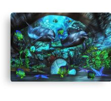 Dolphin's Under The Sea  2 Canvas Print