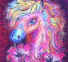 Unicorn, fantasy, magic, magical, rainbow, color, horse, lily, flowers, pony Sticker