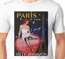 """""""PARIS"""" Vintage Ville DAmour Travel Print Unisex T-Shirt"""