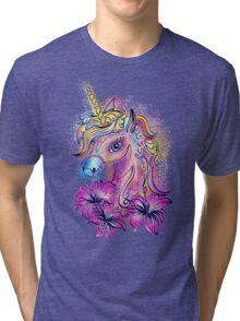 Unicorn, fantasy, magic, magical, rainbow, color, horse, lily, flowers, pony Tri-blend T-Shirt