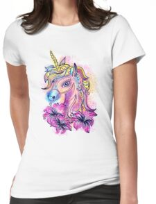 Unicorn, fantasy, magic, magical, rainbow, color, horse, lily, flowers, pony Womens Fitted T-Shirt