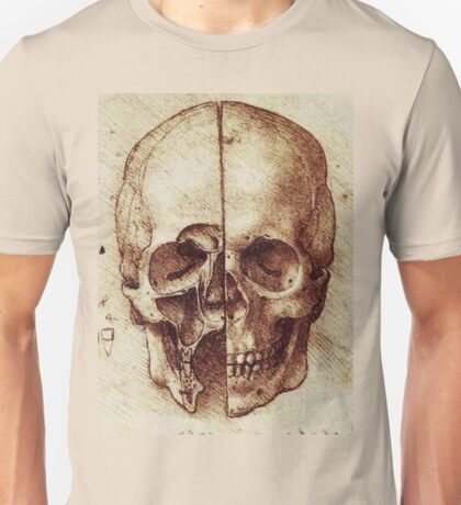 Sketch of a Skull by Leonardo Da Vinci Unisex T-Shirt