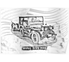 Willys World War Two Jeep Illustration Poster