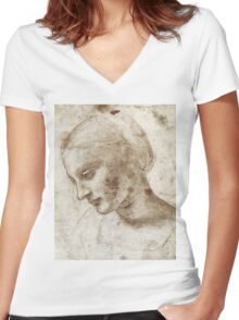 Study of a Woman by Leonardo Da Vinci Women's Fitted V-Neck T-Shirt