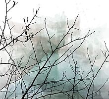Gray Watercolor & Black Branches by Brandt Campbell