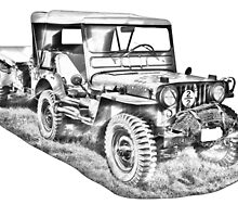 Willys World War Two Army Jeep Illustration by KWJphotoart