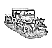 Willys World War Two Army Jeep Illustration Photographic Print
