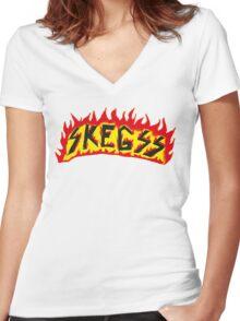 Skegss Fire Logo Women's Fitted V-Neck T-Shirt