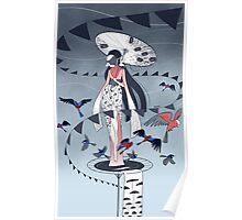 Kimono Birds Poster