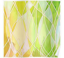 Lemon & Lime Love - abstract painting in yellow & green Poster