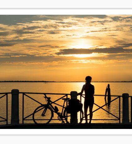 Sunset Cyclist Sticker