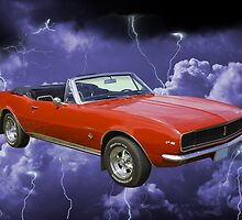 1967 Convertible Red Camaro And Thunderstorm by KWJphotoart