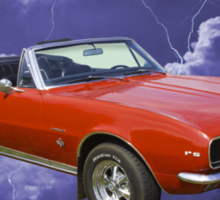 1967 Convertible Red Camaro And Thunderstorm Sticker