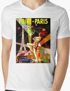 """PARIS"" Vintage Bastille Day Advertising Print Mens V-Neck T-Shirt"