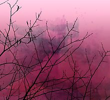 Plum Watercolor & Black Branches by Brandt Campbell