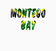 Montego Bay Word With Flag Texture Women's Fitted Scoop T-Shirt
