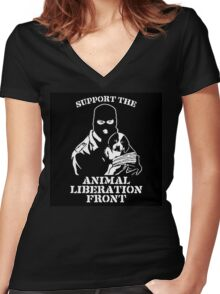 """""""Support the Animal Liberation Front"""" Women's Fitted V-Neck T-Shirt"""